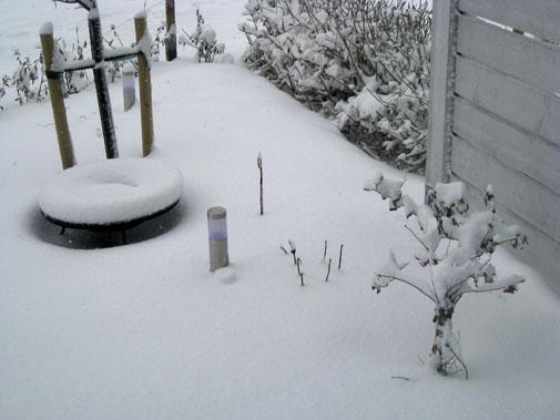 Snö i rabatten utanför köket